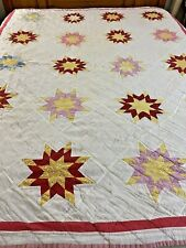 """WOW Vintage Handmade Eastern Star Quilt 67"""" x 80"""" Twin #215"""
