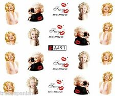 NAIL Art Ad Acqua Adesivi Decalcomanie Labbra Ritratto MARILYN MONROE SMALTO GEL (a491)