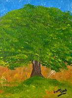 Unikat Mooseart Gemälde Acryl auf Acrylglas Landschaft Baum ca.19x25cm Original