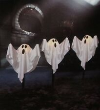 HALLOWEEN OUTDOOR LIGHTED WHITE FABRIC SHEET GHOST LAWN STAKES YARD DECOR SET 24
