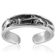 Dolphin Toe Ring Genuine Sterling Silver 925 Usa Seller Adjustable 1.3 grams