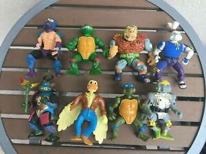 Vintage Lot Of 8 TEENAGE MUTANT NINJA TURTLES TMNT Figure Lot 90s 80s