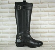 ECCO Womens Black Leather Knee High Long Heeled Boots Pull On Size 6 UK 39 EU