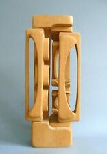 BRIAN WILLSHER MODERNIST ABSTRACT BLONDE WOOD VINTAGE SCULPTURE SIGNED 1983