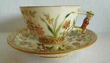 ANTIQUE HUNGARIAN HEREND ZSOLNAY STYLE ENAMELED CUP AND SAUCER ON PIERCED FEET