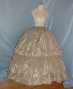 Antique Dress Skirt Victorian 1860's Sage Green and White Silk Brocade
