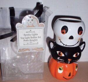 HALLMARK SPOOKY LIGHTS TEA LIGHT CANDLE HOLDER SET OF 3 CAT, JOL, SKELETON