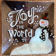 Joy to the World Square metal serving dish platter Snowman Christmas Holiday