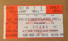 1988 Sting Nothing Like The Sun Tour Los Angeles Concert Ticket Stub Police T1