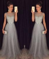 Abendkleid Ballkleid Partykleid Kleid Grau Sommerkleid ärmellos Maxikleid BC343N