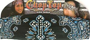 CHOP TOP BLUE CROSS PAISLEY W/RHINESTONES DO WRAP HEADBAND BANDANA DOO RAG