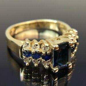 EFFY BH 14k Diamond & Sapphire Yellow Gold Ring Size 5