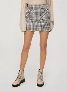 Miss Selfridge Womens Multi Coloured Checked Pocket Button Mini Skirt Bodycon