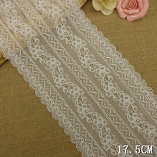 """1 Yard Pretty Stretch Elegant Delicate Scallop Edge Lace Trim White  6 3/4"""" Wide"""