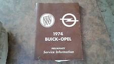 1974 Buick Opel Shop Manual - Preliminary Service Information