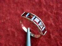 Solid 14K Yellow Gold 5xBrilliant Red Garnet Band Ring Size 6.75