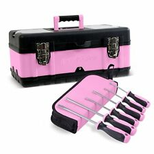 "Pink Power 18"" Portable Aluminum Tool Box & 6 Piece Screwdriver Set for Women"