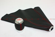 M10 X 1.25 BLK 6 SPEED CHROME SHIFT KNOB+ RED STITCHING LEATHER BOOT FOR MAZDA