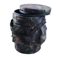 Padded Spinning/Swivel Camo Bucket Seat with Storage Pocket for Hunting Shooting
