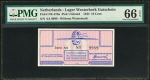 Netherlands Lager Westerbork 10 Cents 1944 AA  W/o Watermark GEM UNC PMG 66 EPQ