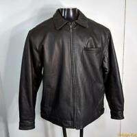 Soft LEATHER JACKET Mens Size M medium black zippered insulated
