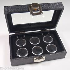 """6"""" Glass top display case w/clasp- 6pc round or square jars- gold, gems,coins"""