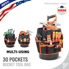 5 Gallon Bucket Organizer 30 Storage Pocket Tool Holder Tote Bag Gardening AUTO