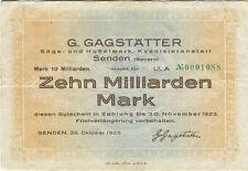 Germany 10 Billions Mark 1923 Senden No0001088