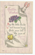 Easter Bunny Rabbit Chick Tearing Note Bergman Vintage Postcard