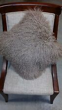"Handmade Mongolian Fur 22""x22"" Square Taupe/Tan Pillow Cushion & fabric backing"