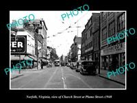 OLD LARGE HISTORIC PHOTO OF NORFOLK VIRGINIA VIEW OF CHURCH ST & STORES c1940 5