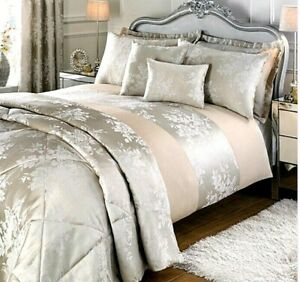 Sofia Jacquard Full Bedroom Ensemble Set With Curtains Natural Size Single