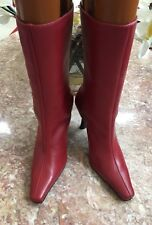 New Via Spiga Pointed Toe Red Leather Mid-Calf Boots Size 7 Made in Brazil $250