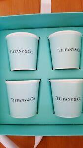 TIFFANY & CO BONE CHINA Espresso Paper Cup set of 4 w/ Box Tiffany Blue New