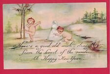 1217B New Year Vtg Pc Naked Babies Kids Having Snowball Fight Snowman A/S