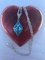 """925 Sterling Silver W/ Blue CZ Evil Eye Protection Pendant Lap Opal 20""""chain"""