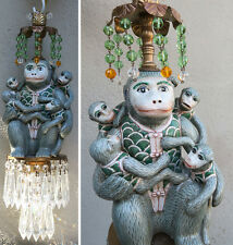 Chandelier lamp Monkey Buddha Porcelain Brass SWAG vintage crystal prism Beaded