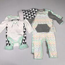 Cloud Island Baby Girl 3-6M Mint Romper, Bib, Long Sleeve Panda Bodysuit, Pants