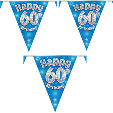 Oaktree Happy 60th Birthday Blue Holographic Foil Party Bunting 3.9m 11 Flags