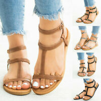 Women's Summer Casual Rome Buckle Strap Flat With Sandals Open Toe Shoes