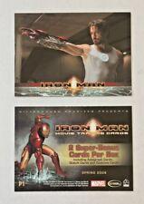"MARVEL IRON MAN ROBERT DOWNEY JR ""TONY STARK PROMO P1"" IRON MAN 2 card Lot  P1"