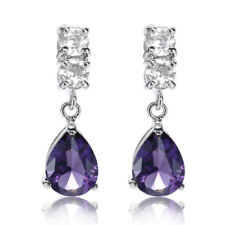 Sale! Lady Gift Pear Purple Amethyst 18K White Gold Plated Gp Lady Stud Earrings