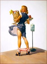 1940s Pin-Up Girl Bus Stop Mishap Picture Poster Print Art Pin Up