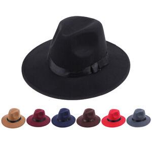 Vintage Men Women Hard Felt Hat Wide Brim Fedora Trilby Panama Hat Gangsterlu