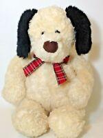 GUND Target Puppy Dog Plush Stuffed Animal Cream Plaid Bow Shaggy Lovey Soft Toy