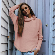 Women Long Sleeve Cowl Neck Knitted Jumper Ladies Casual Sweater Pullover Tops
