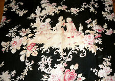 Antique French Pastoral Roses Couple Cotton Fabric Fragment ~ Black Rose Pink