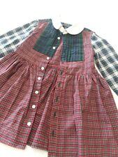 Ralph Lauren Polo Girls Red Plaid Long-sleeve Dress Size 2T Tartan