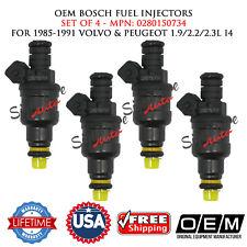 Set of 4 OEM BOSCH Fuel Injectors for 1985-1991 VOLVO & PEUGEOT 1.9/2.2/2.3L I4