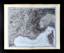 1892 Stieler Map France French Riviera Marseilles Italy Nice Cannes Savona Alps